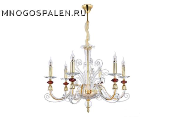 Люстра Crystal lux Catarina SP6 GOLD/TRANSPARENT-COGNAC купить в салоне-студии мебели Барселона mnogospalen.ru много спален мебель Италии классические современные