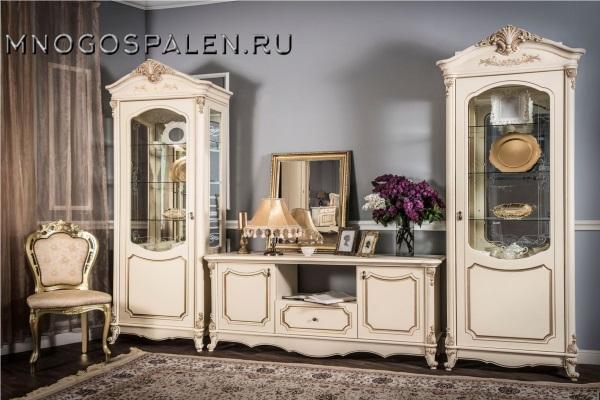 ГОСТИНАЯ МОНА ЛИЗА КРЕМ купить в салоне-студии мебели Барселона mnogospalen.ru много спален мебель Италии классические современные