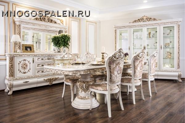 Гостиная Алсу крем глянец купить в салоне-студии мебели Барселона mnogospalen.ru много спален мебель Италии классические современные