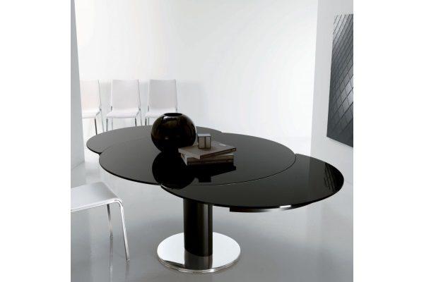 Стол MK-7522-BL  трансформер стеклянный круглый черный купить в салоне-студии мебели Барселона mnogospalen.ru много спален мебель Италии классические современные
